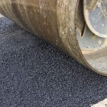 Detail of road roller during asphalt patching works